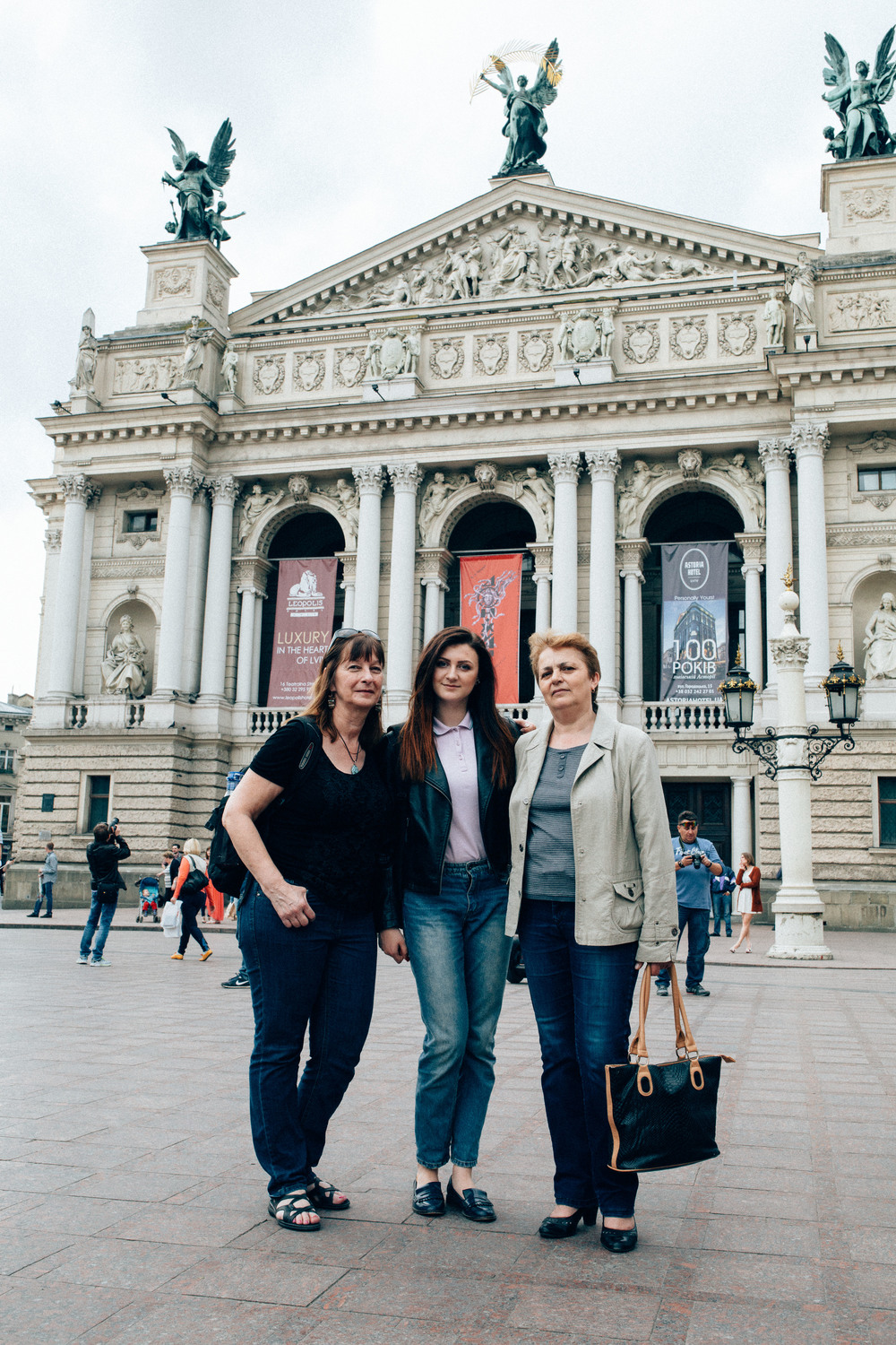 In front of the opera theatre. Mom, Khristena, Slavka.