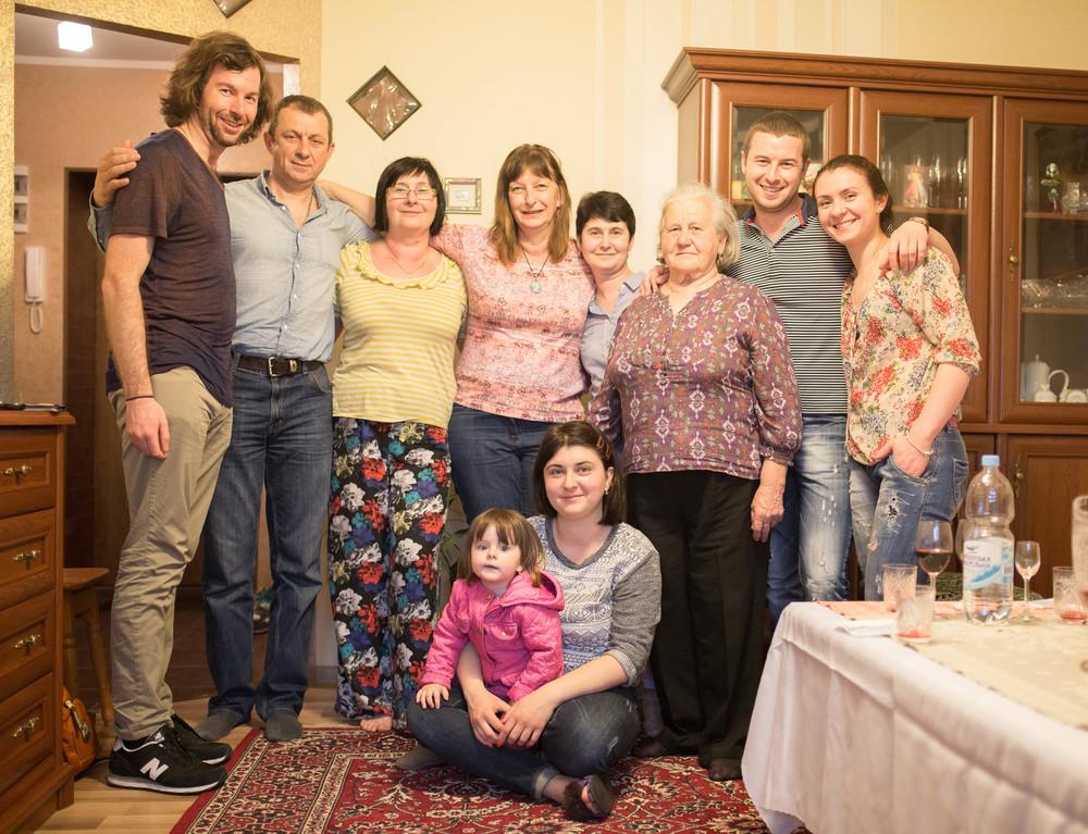 Me, Vira, Mom, Marusia, Katya, Taras, Olya. Roxalana and Oksana.