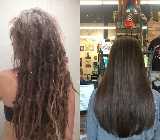 Before and after Dreads are removed. By Brandi Bravos.