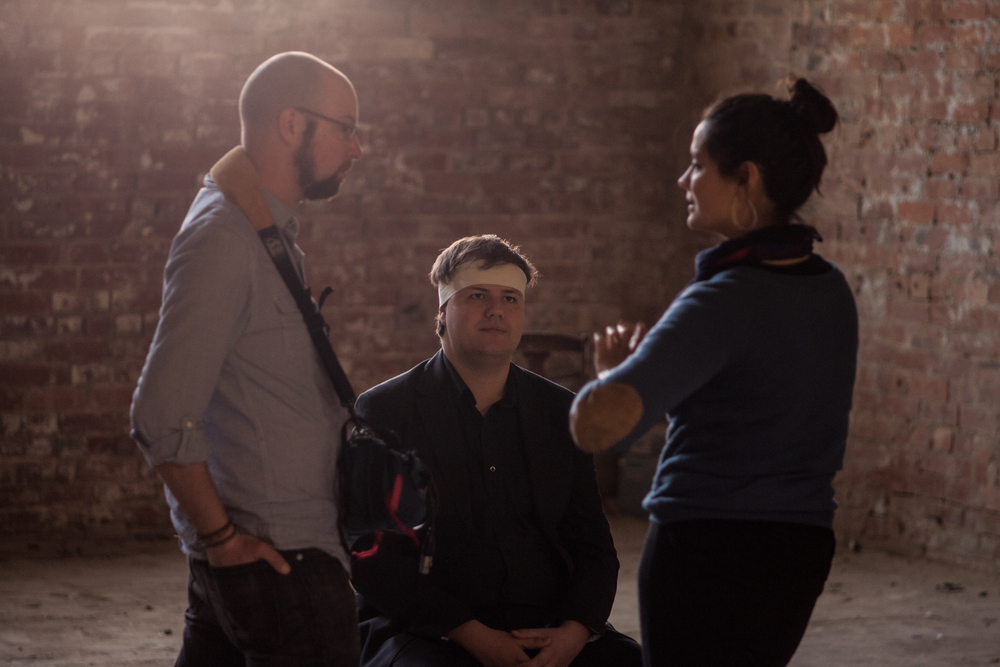 Russell Goldsmith (sound), Joachim Coghlan (performer) and Ming-Zhu Hii (director) on the set of Hey, Wasteland.