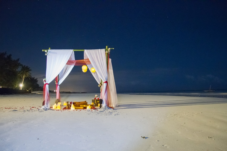 Wedding ceremony at night Diani Beach Kenya
