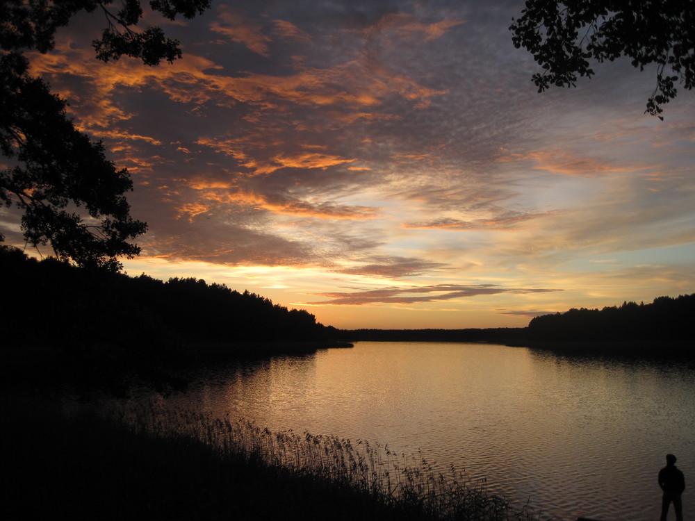 Entspannt über den See blicken.