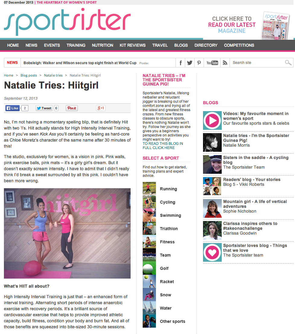Sportsister, Sep 2013