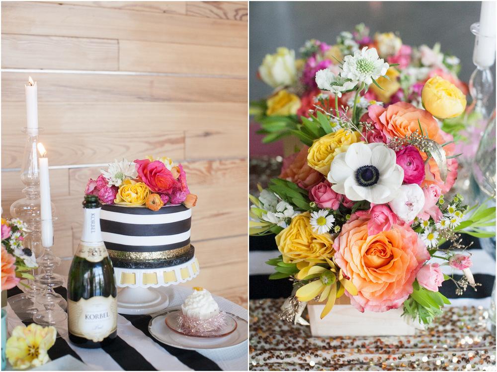 Black White Gold Sequin Pink Orange Wedding Inspiration