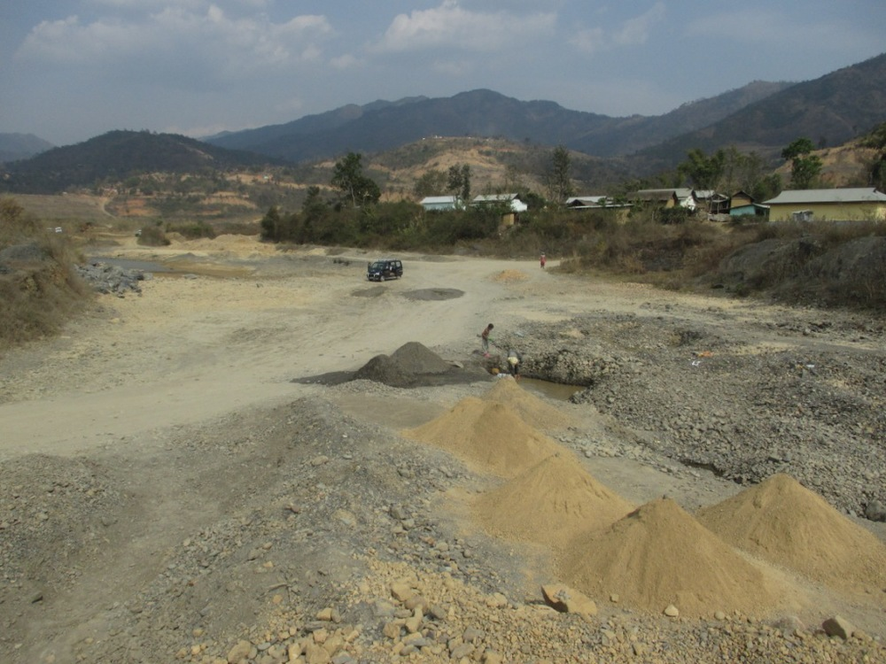 Dried River of Thoubal River at Tumukhong village Downstream of Mapithel dam