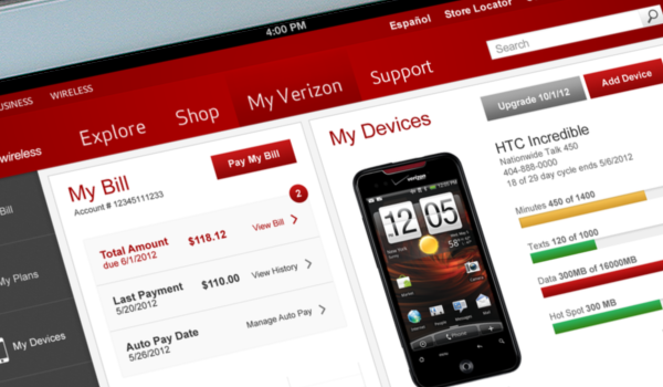 """""""My Bill"""" tablet experience for Verizon— Tap/Click to view"""