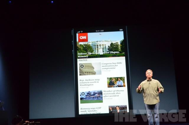 Phil Schiller during iPhone 5 announcement. Presenting the first significant UI update to the CNN iPhone application in September 2012.