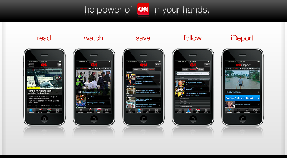 Screen capture from CNN Mobile promotional page, 2008