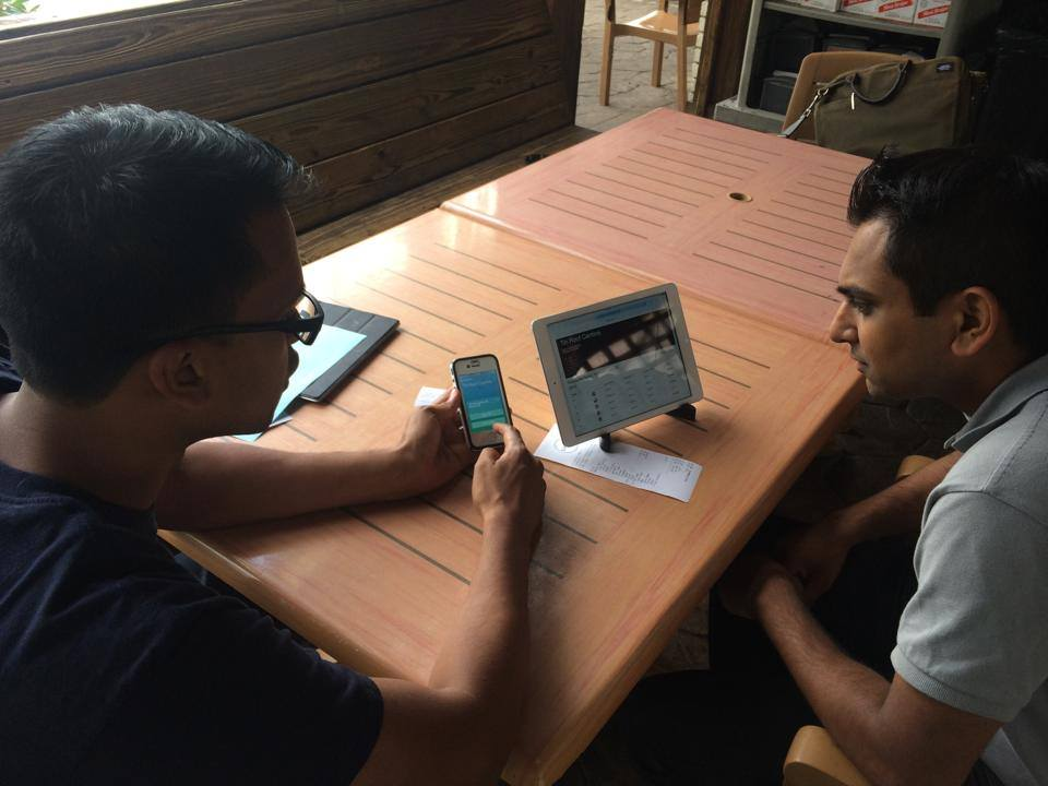 Onsite user testing POC version of Split at Tin Roof Cantina in 2014