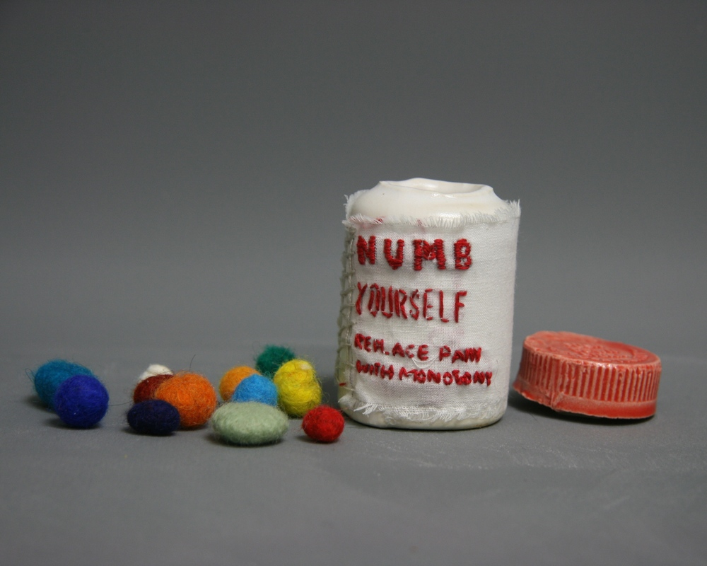 Painkiller Addiction #1 (ceramic, embroidery thread, felt, muslin)