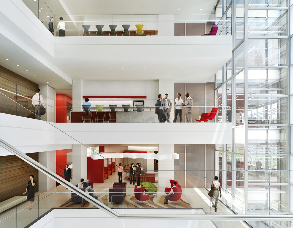 exxonmobil's houston campus atrium promotes employee collaboration, engagement, well-being, and agility.