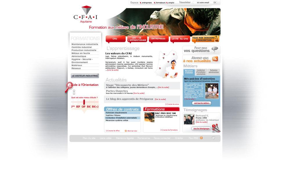 CFAI Aquitaine : le site du Centre de Formation d'Apprentis de l'Industrie en Aquitaine.