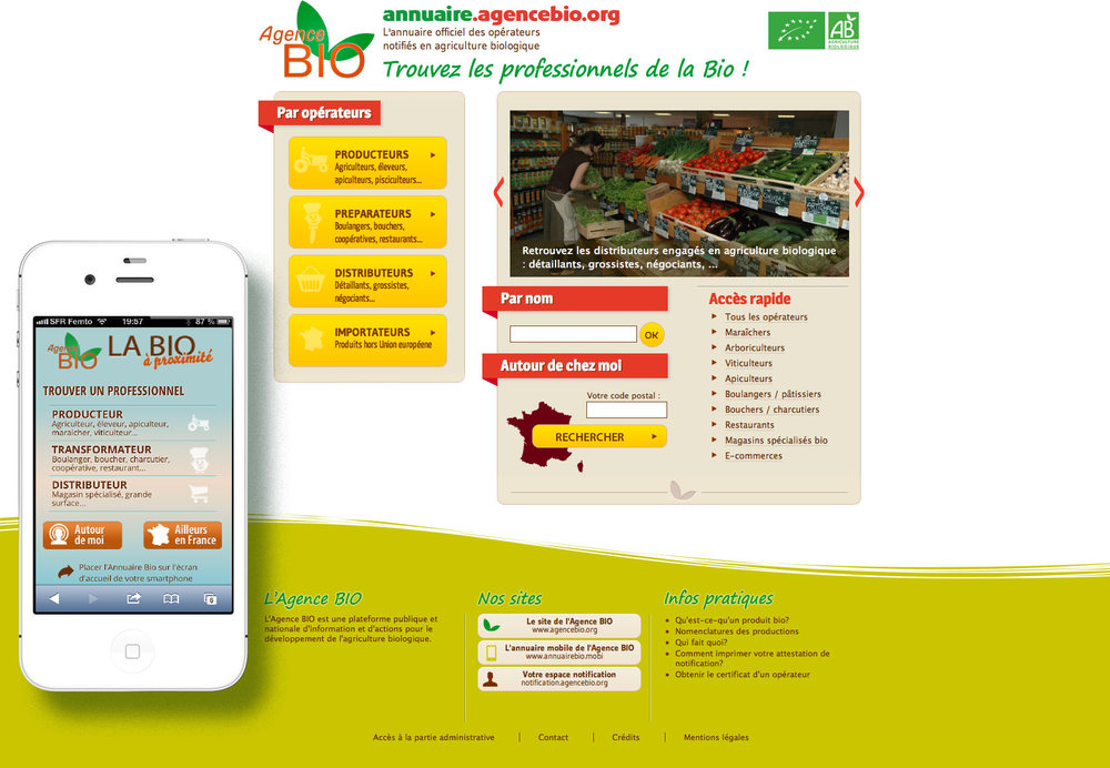 L'annuaire de l'agence bio : annuaire ( site internet + mobile) de l'agence bio.