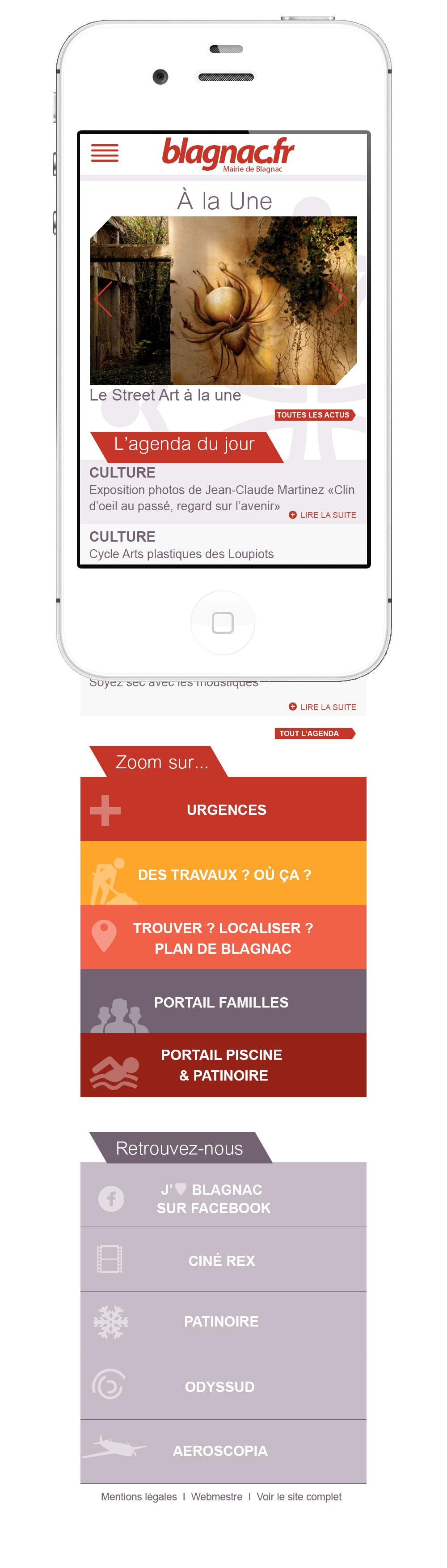 Webdesign site mobile de la Mairie de Blagnac : interface mobile de la Mairie de Blagnac