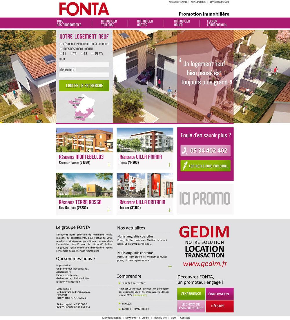 FONTA : webdesign du site FONTA Promotion immobilière.
