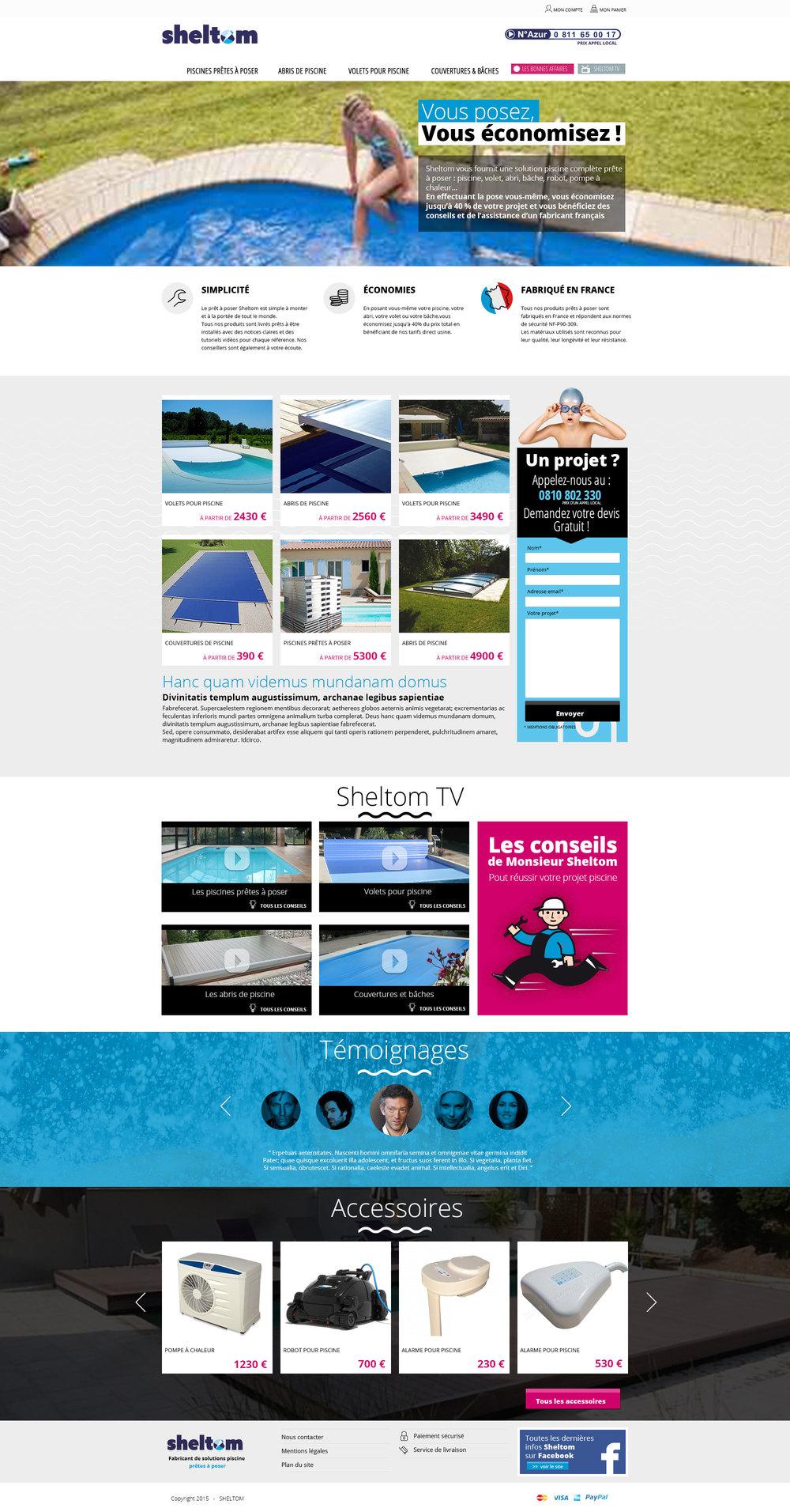 Sheltom : webdesign du site de Sheltom, le prêt à poser de la piscine.