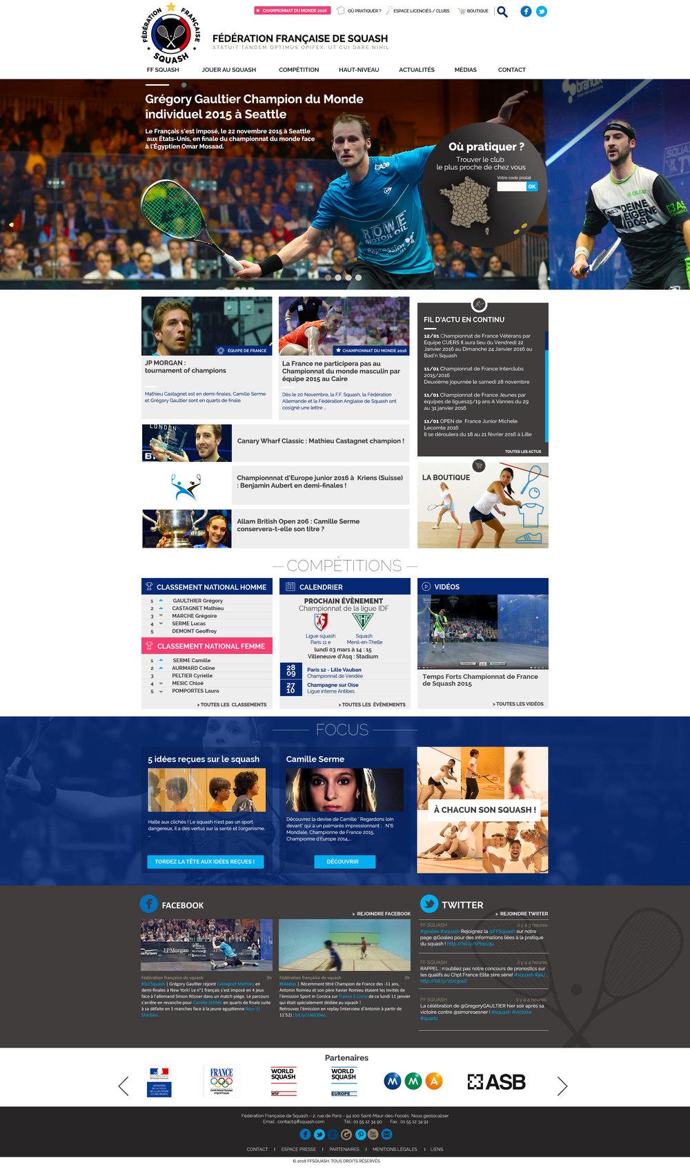 Fédération française de Squash : webdesign du site officiel
