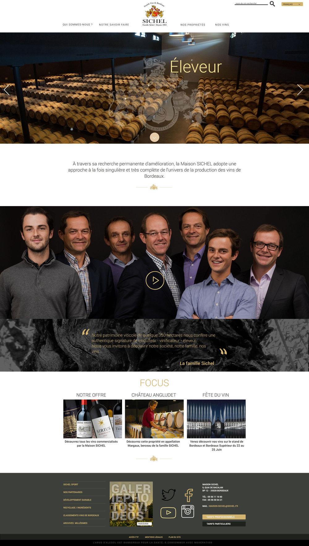 SICHEL : webdesign du site de la Maison SICHEL à Bordeaux