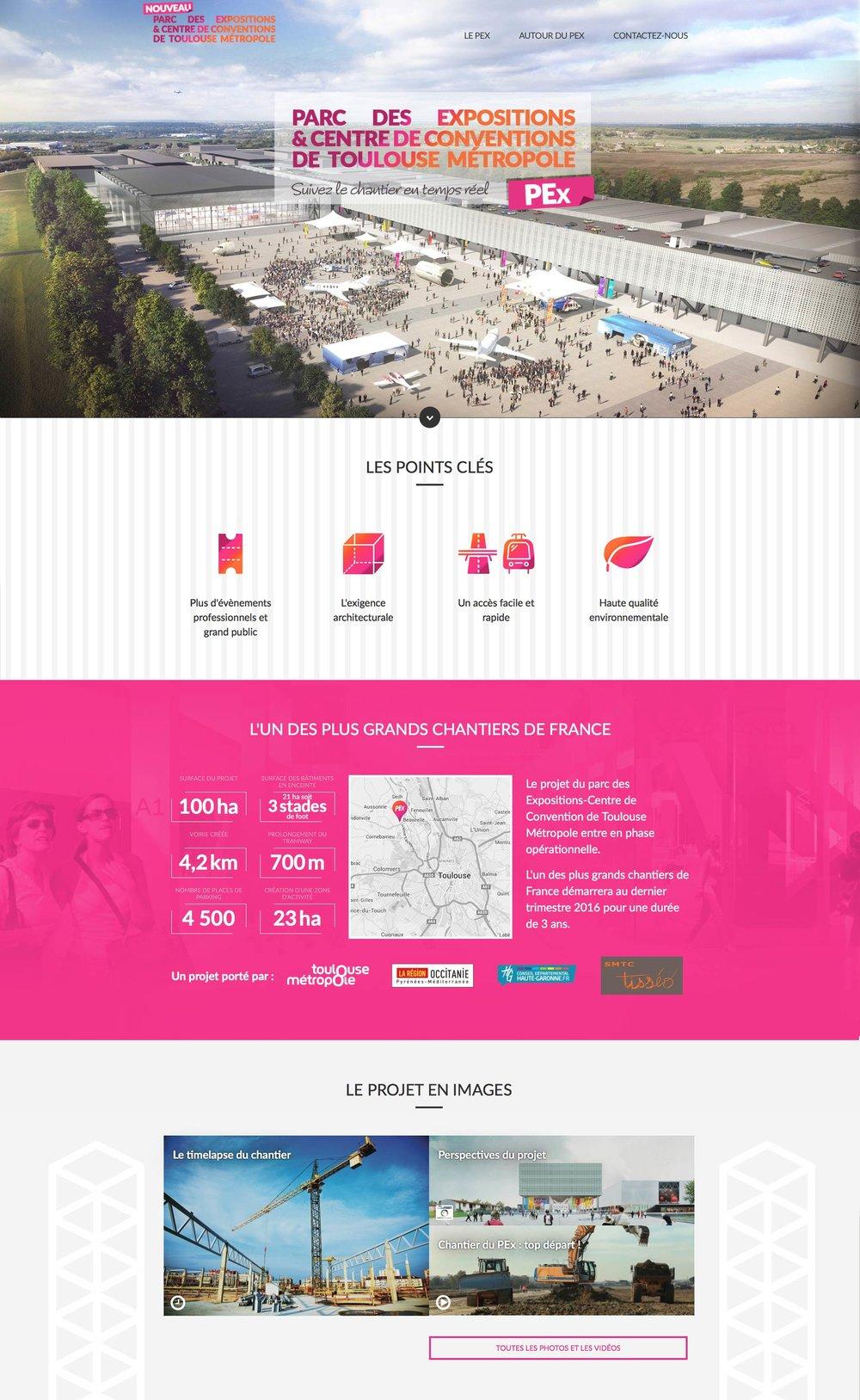 Parc des expositions et centre de conventions de Toulouse Métropole : webdesign du site