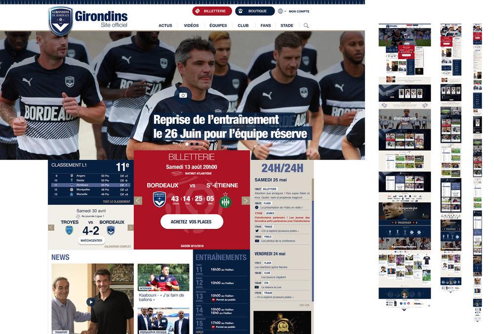Girondins.com : Webdesign du tout nouveau site responsive des Girondins de Bordeaux !
