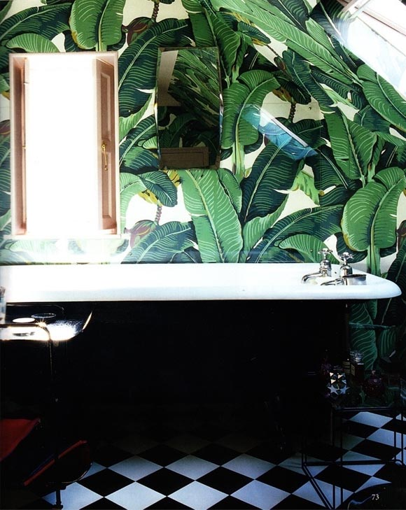 http://www.sarahsarna.com/10-of-my-favorite-interiors-with-palm-leaf-wallpaper/