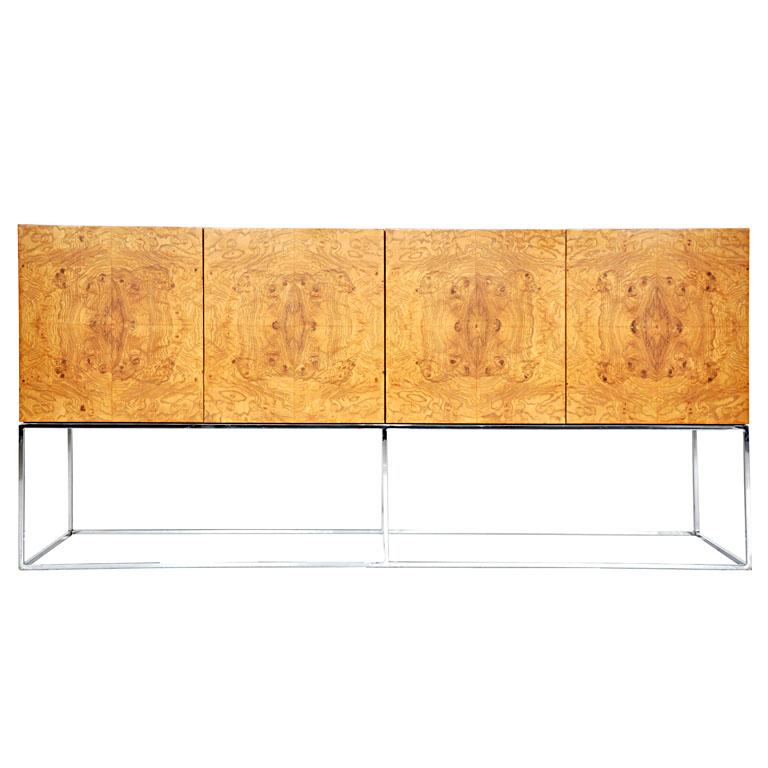 1stdibs -Milo Baughman burl wood sideboard