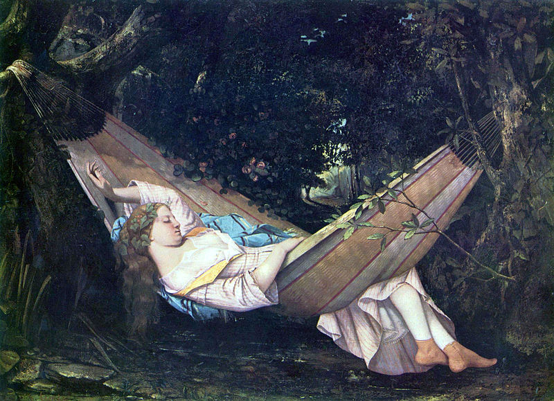 A painting of a young woman taking a siesta. (The hammock, Gustave Courbet (1844).)