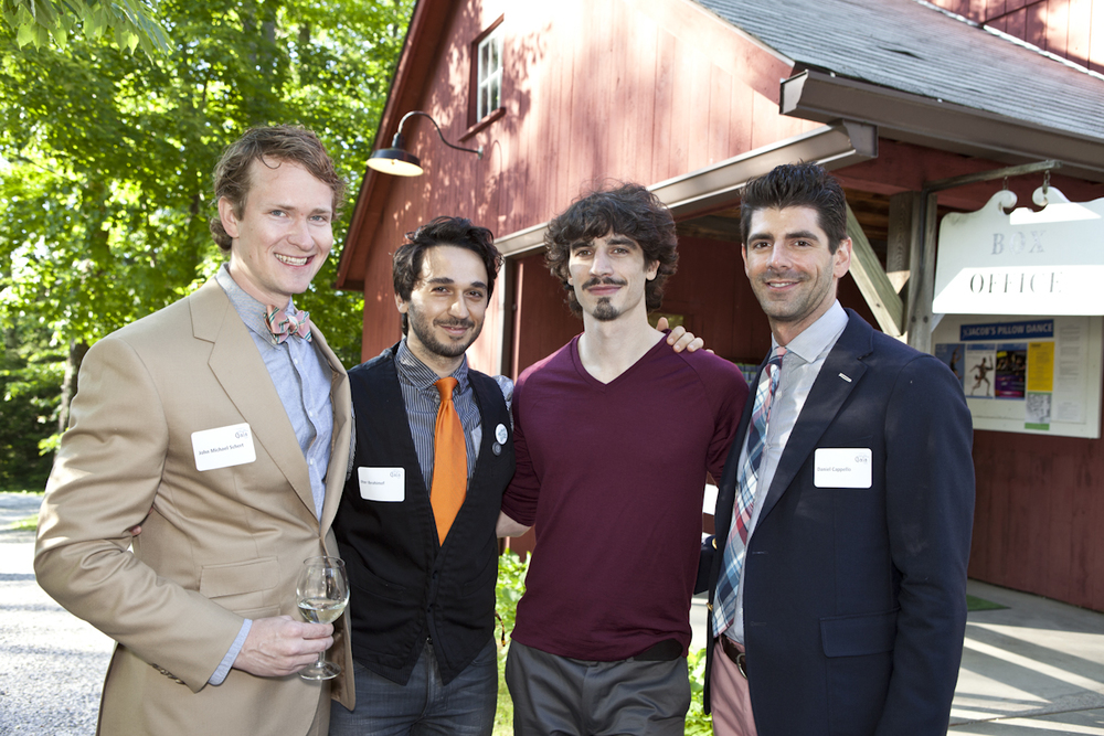 PHOTO CAPTION: Co-Founder and former Executive Director of Trey McIntyre Project   John Michael Schert, Director of Sunny Artist Management Ilter Ibrahimof, Resident   Choreographer of Hubbard Street Chicago Alejandro Cerrudo, and Fashion Director of   Quest Media Daniel Cappello, prior to the Gala performance. Photographer Tina Lane;   courtesy of Jacob's Pillow Dance