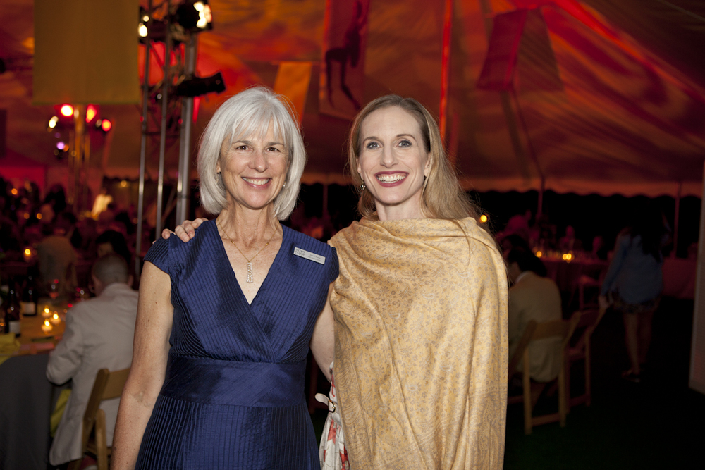 PHOTO CAPTION: Jacob's Pillow Board Chair Joan Hunter and New York City Ballet star   Wendy Whelan under the Gala tent. Photographer Tina Lane; courtesy of Jacob's Pillow   Dance