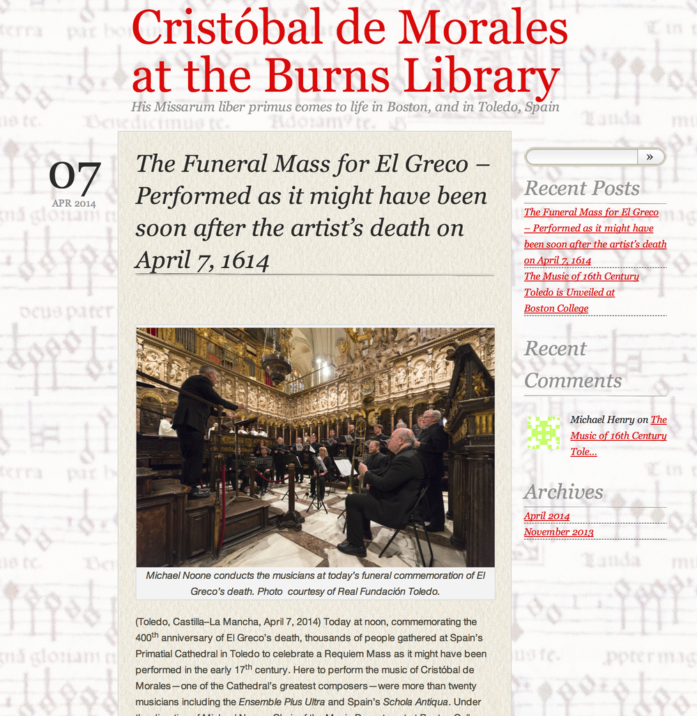 Boston College's music department and Burns Library sponsored performances of 16th century music in Chestnut Hill, MA, and Toledo, Spain. This K&M blog introduces how a 400-year old volume was brought to new life.