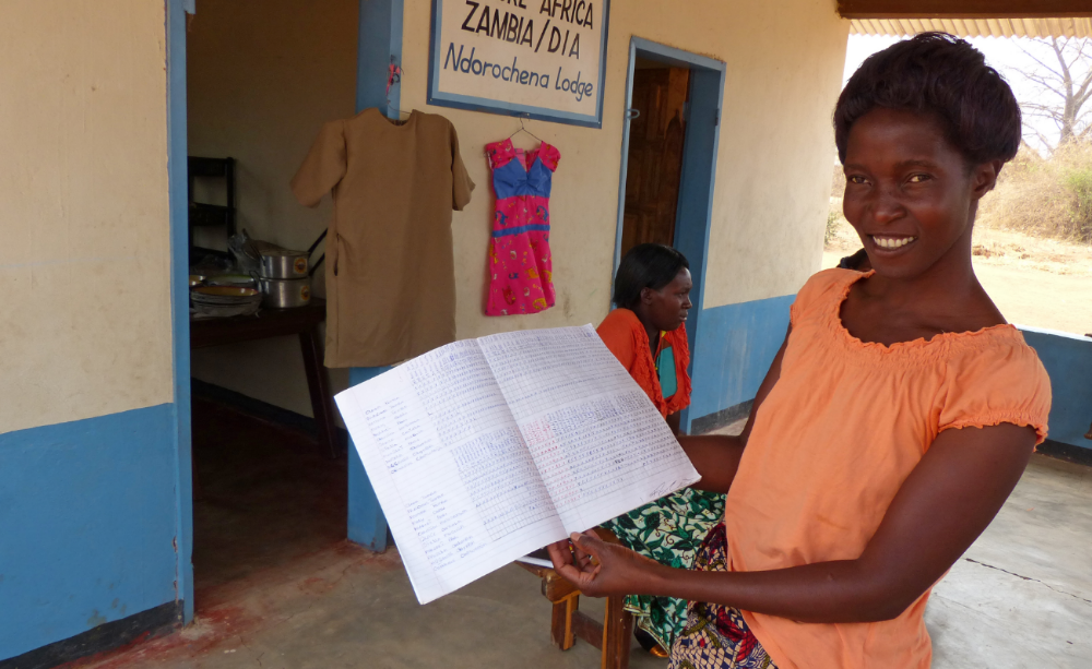 Keeping track of their progress is a happy challenge for the women of Zambia.