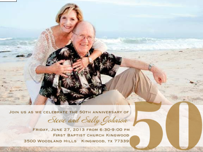 This is the invitation to my folks' anniversary party. It is a great example how my dad loves my mom. He would never have the idea to take a picture on the beach in their 70's. But it was important to mom, so it was important to dad. Look at that smile on his face!