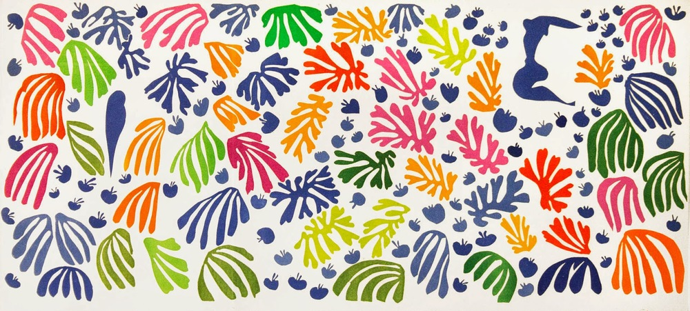 "Henri Matisse, ""La perruche et la sirène"", 1952.  Matisse described this work as 'a little garden all around me where I can walk'."