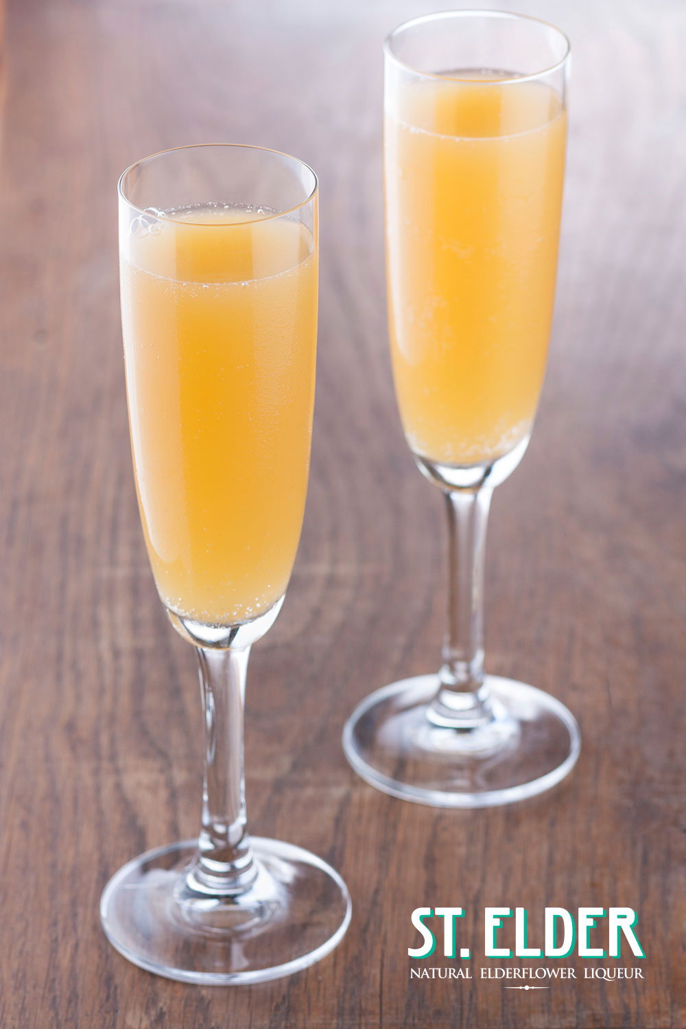 peach sorbet and prosecco cocktail