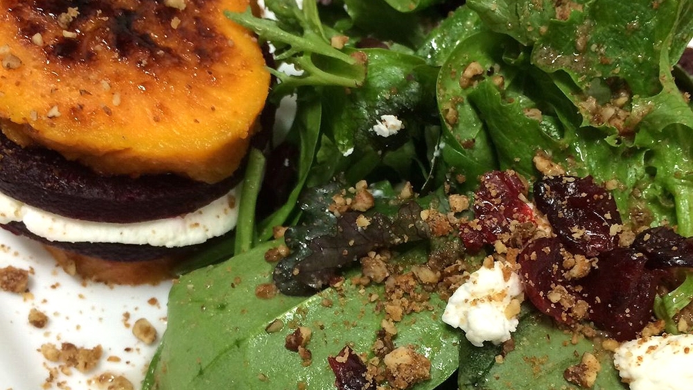 Brulee Sweet Potato, Beet and Goat Cheese Salad