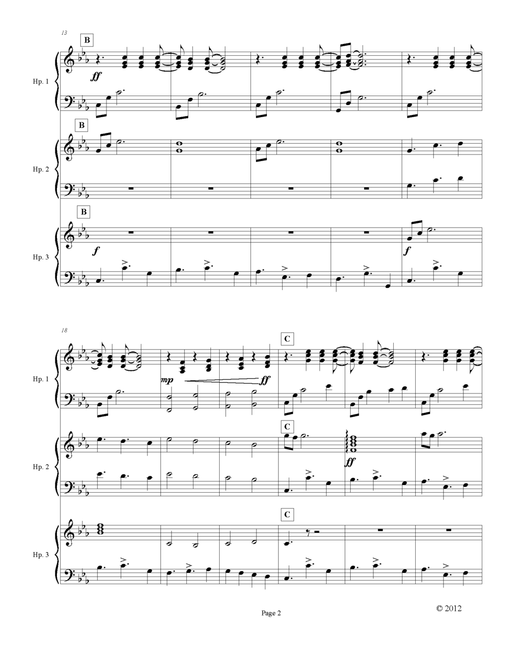 "Page 2 Sample Page of ""Hope"" Harp Ensemble"