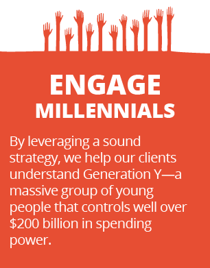 Engage Millenials - By leveraging a sound strategy, we help our clients understand Generation Y—a massive group of young people that controls well over $200 billion in spending power.
