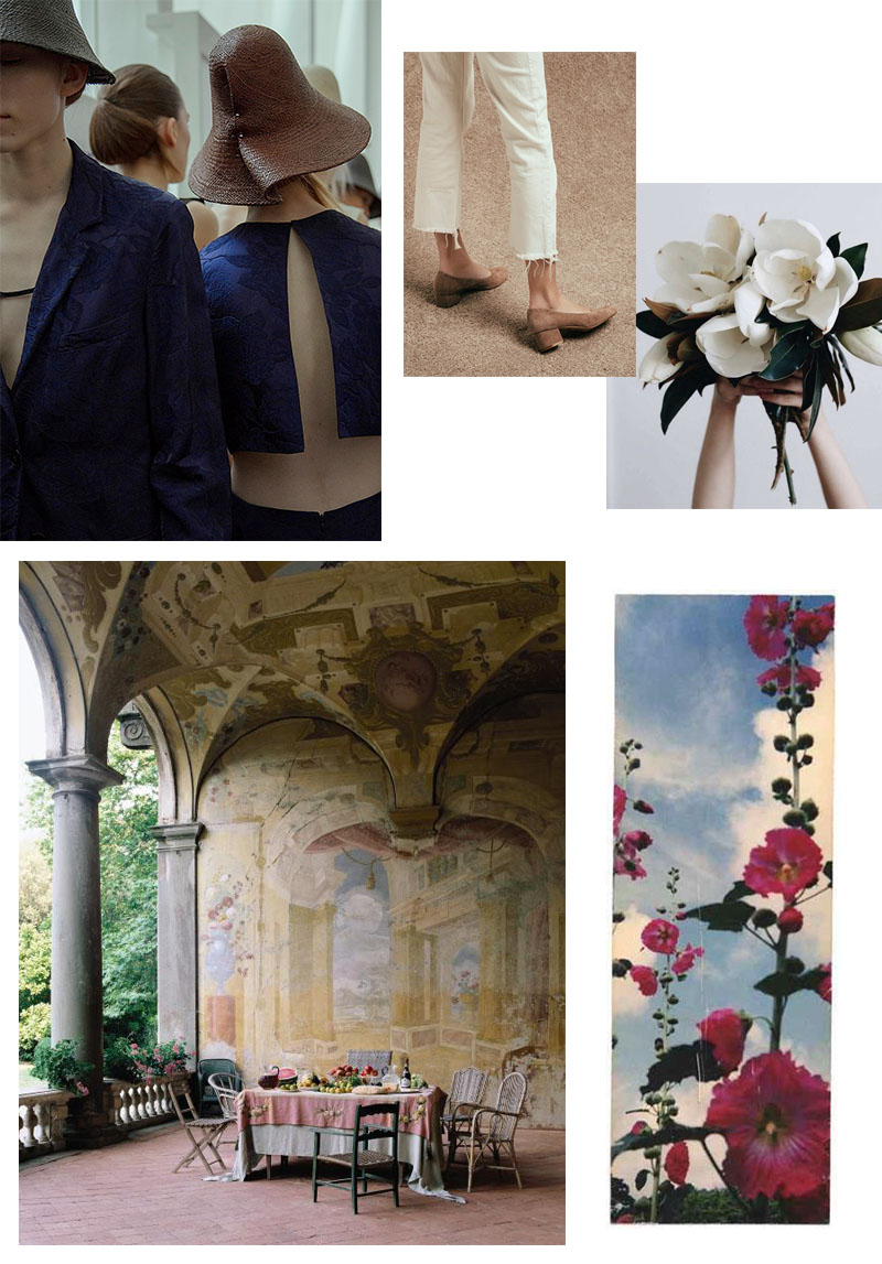 1.   Jil Sander SS16    2. Suede shoes, unknown brand.   Tumblr  .   3. Magnolia flowers. Beth Kirby,   Pinterest  .   4. Gorgeous Villa Torrigiani in Lucca, Italien. Photo by   Pieter Estersohn via   Walls: The Best of Decorative Treatments .    5. Artwork by   Yamamoto Masao.