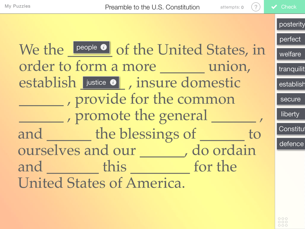 Preamble to the U.S. Constitution Puzzle — Learning in Hand