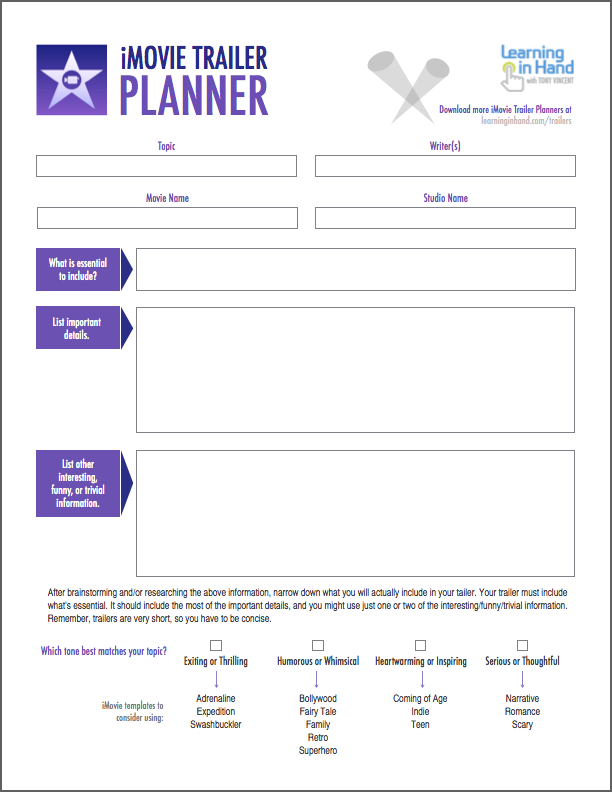 Plan A Better IMovie Trailer With These PDFs Learning In Hand - Project based learning lesson plan template