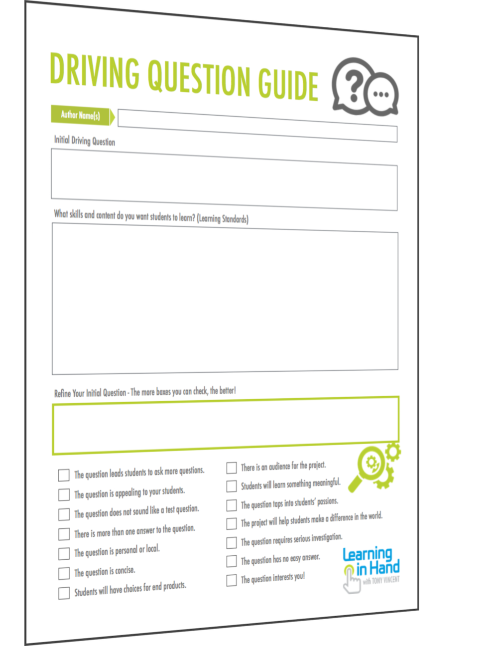 Driving Question Guide pages