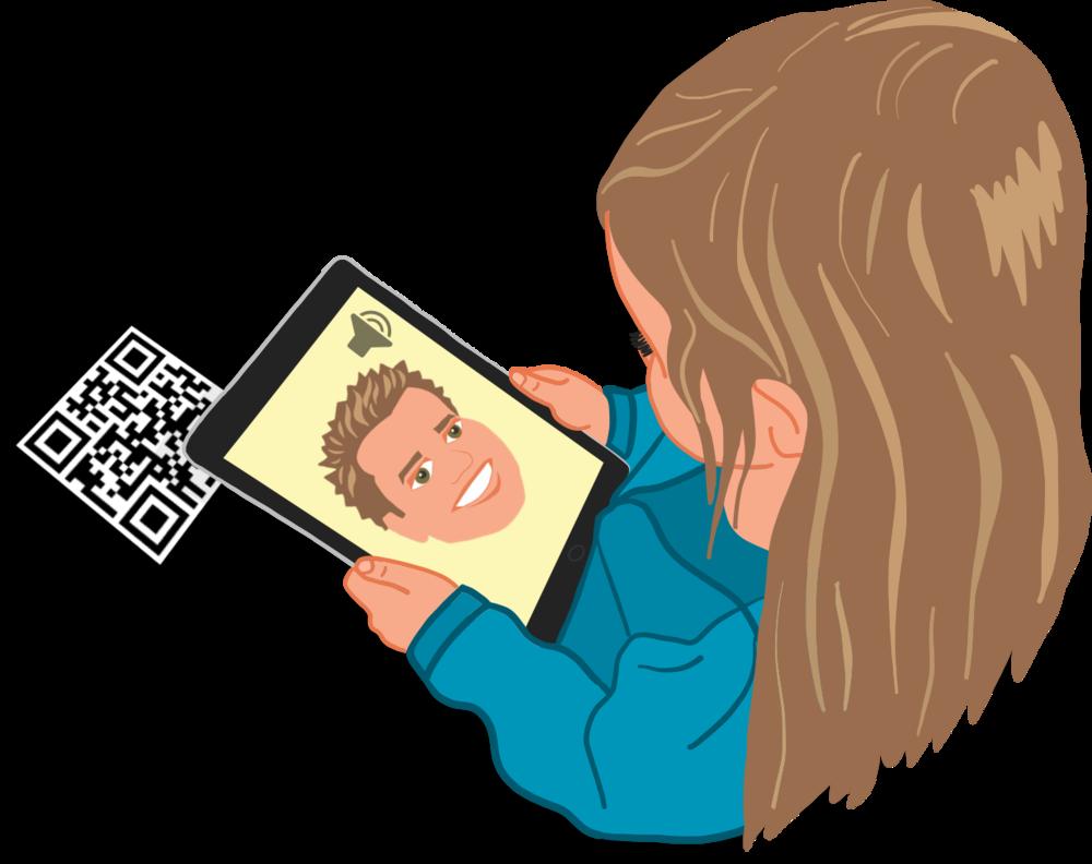 Girl scanning a QR code