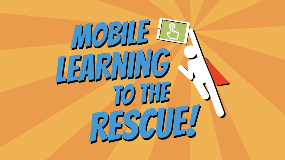 Mobile Learning to the Rescue - Superhero HOlding an iPad