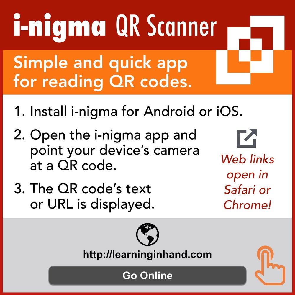 i-nigma QR Code Scanner: Simple and Quick App for Reading QR codes. 1. Install i-nigma for Android or IOS 2. Open the i-nigma app and point your devices camera at a QR code. 3. The QR code's text or URL is displayed Web links open in Safari or Chrome!