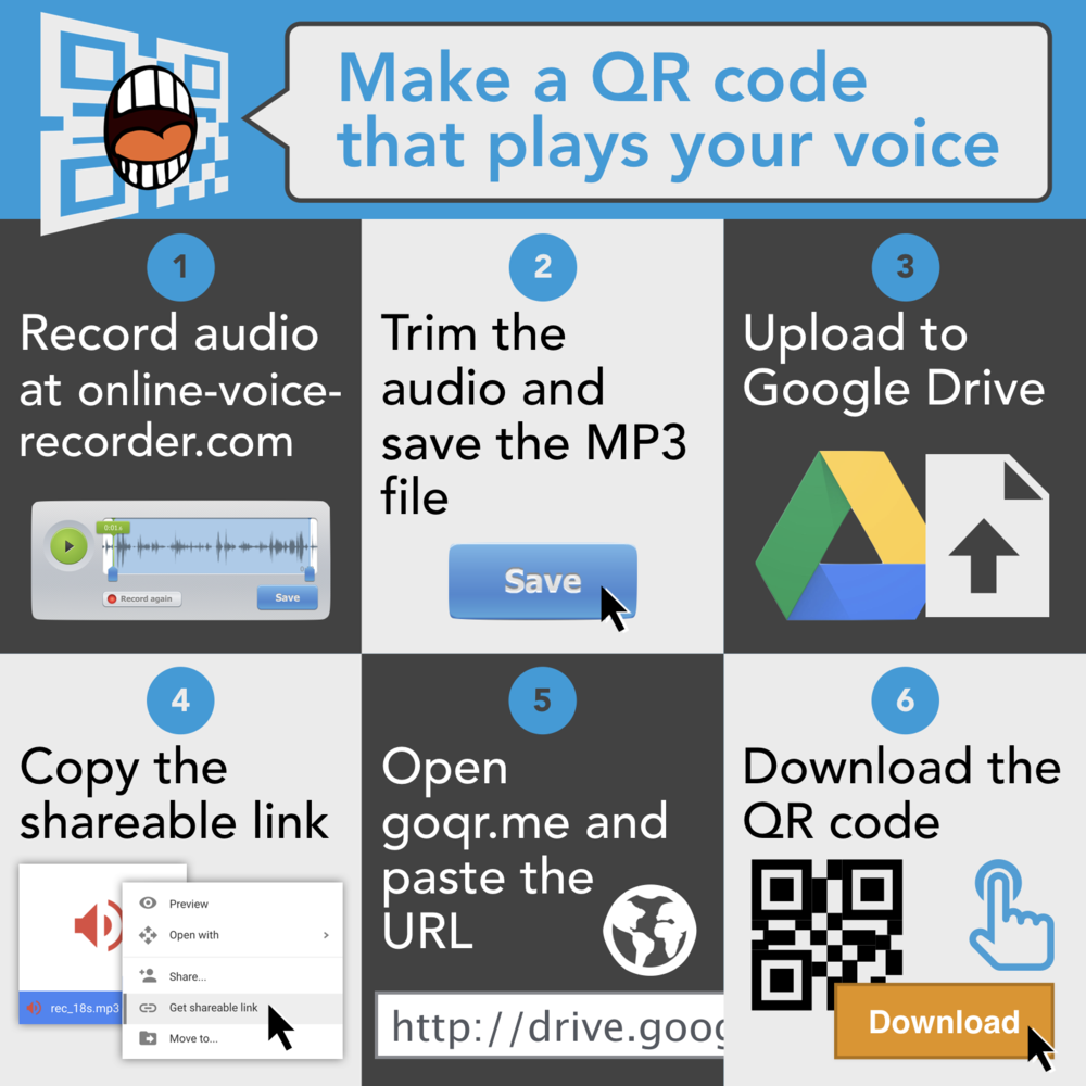 Make a QR code thaT plays your voice: 1. Record audio at online-voice-recorder.com 2. Trim that audio and save the MP3 file. 3. Upload to Google Drive. 4. Copy the shareable link. 5. Open goqr.me and paste the URL. 6. Downoad the QR code.