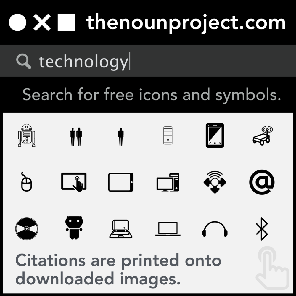 The Noun Project: Search for free icons and symbols. Citations are printed onto downloaded images.