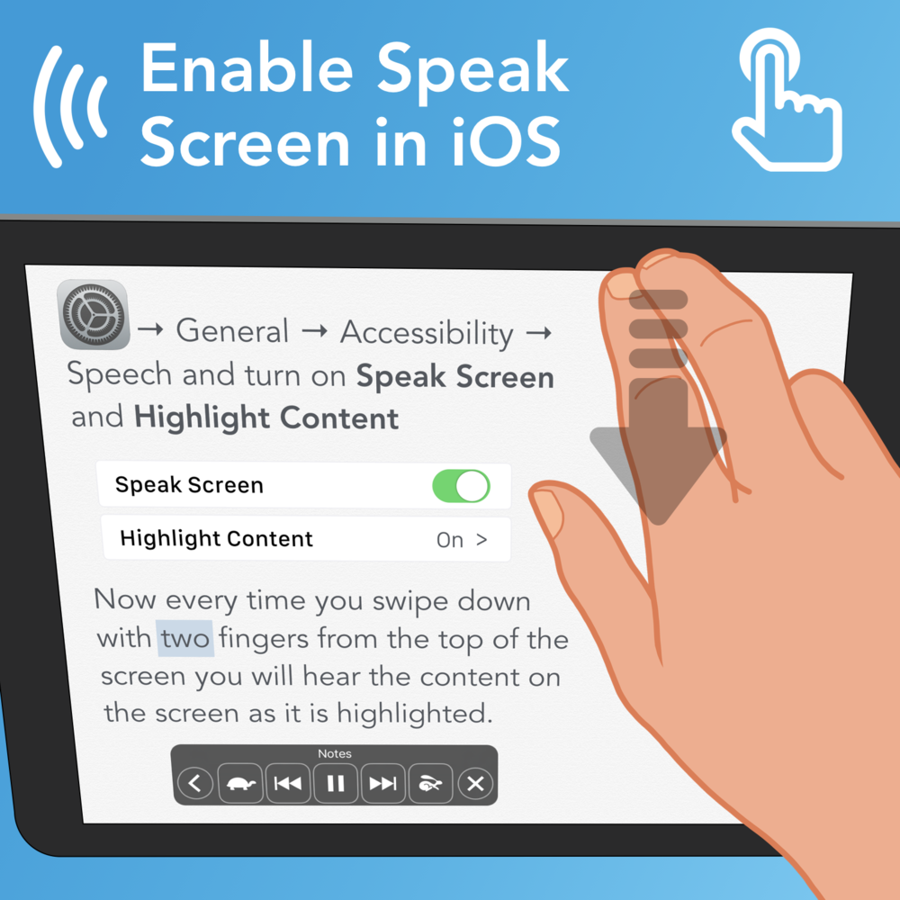 Enable Speak Sceeen in iOS: Open Settings > General > Accessibility  > Speech and turn on Speak Screen and Highlight COntent. Now every time you swipe down with two fingers from the top of the screen you will hear the content on the screen as it is highlighted.