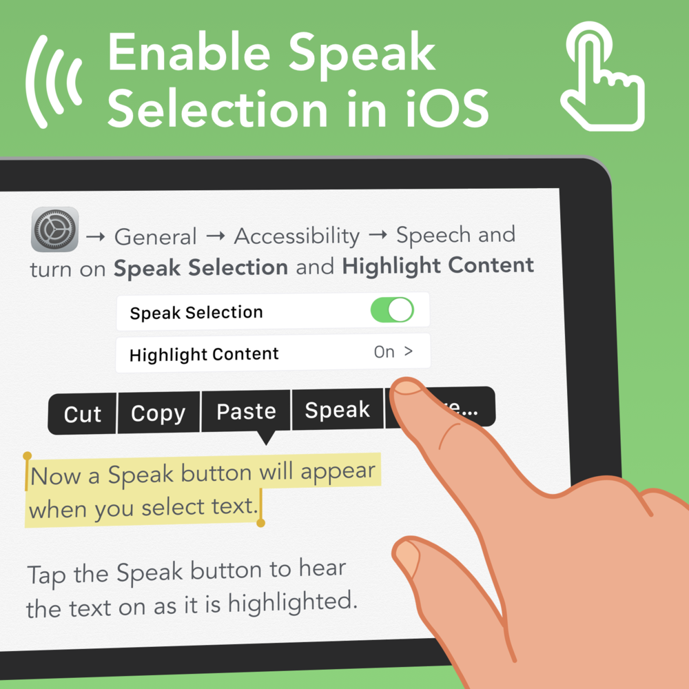Enable Speak Selection: OPen the Settings app and go to General > Accessibility > Speech and turn on Speak Selection and Highlight Content. Now a Speak button will appear when you select text. Tap the Speak button to hear the text as it is highlighted.