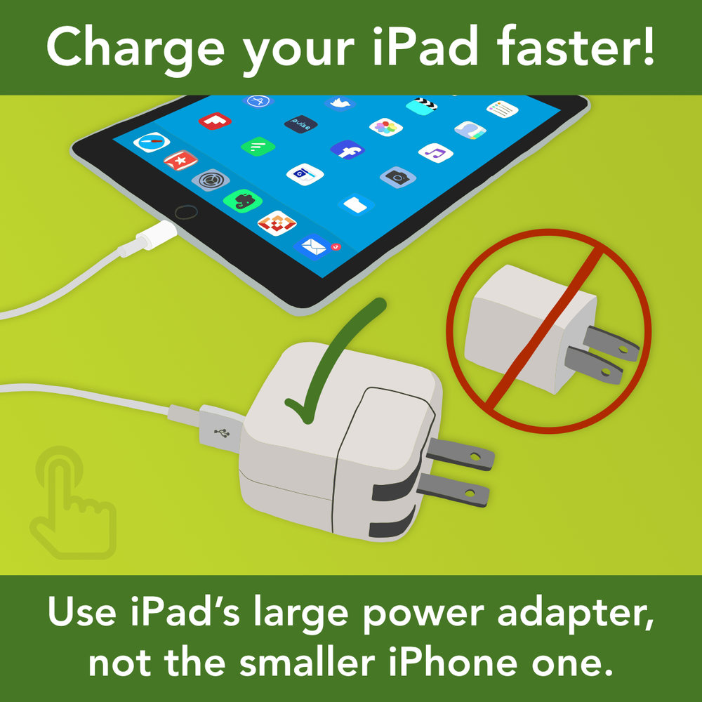 Charge iPad faster! Use iPad's large power adapter, not the smaller iPhone one.