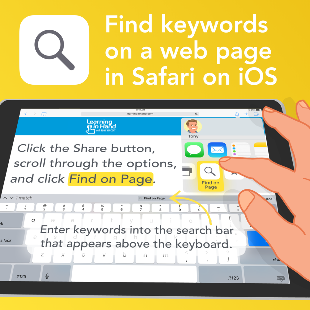 Find keywords on a web page in Safari in iOS. Click the Share button and scroll through the options and click Find on Page.